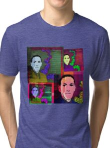 HP LOVECRAFT, AMERICAN GOTHIC WRITER, COLLAGE Tri-blend T-Shirt
