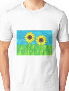 Sunflower flowers acrylic paint Unisex T-Shirt