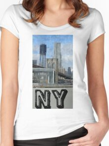 new york city, empire state building Women's Fitted Scoop T-Shirt