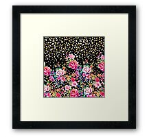 Modern watercolor spring floral and gold dots pattern Framed Print