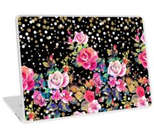 Modern watercolor spring floral and gold dots pattern Laptop Skin