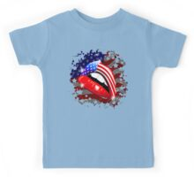 USA Flag Lipstick on Sensual Lips Kids Tee