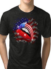 USA Flag Lipstick on Sensual Lips Tri-blend T-Shirt