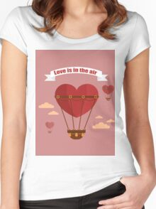 Happy Valentine's Day Greeting Cards. Air Baloon, Present with Love, Cupcake and Whale.  Women's Fitted Scoop T-Shirt