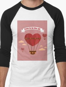 Happy Valentine's Day Greeting Cards. Air Baloon, Present with Love, Cupcake and Whale.  Men's Baseball ¾ T-Shirt