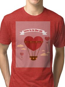Happy Valentine's Day Greeting Cards. Air Baloon, Present with Love, Cupcake and Whale.  Tri-blend T-Shirt