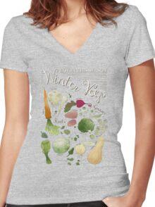 Winter Vegetables Women's Fitted V-Neck T-Shirt