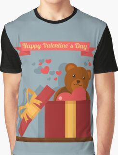 Happy Valentine's Day Greeting Cards. Air Baloon, Present with Love, Cupcake and Whale Graphic T-Shirt