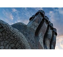 Capricious Trencadis Mosaics – Antoni Gaudi's Quirky Chimneys at Casa Batllo in Barcelona Photographic Print