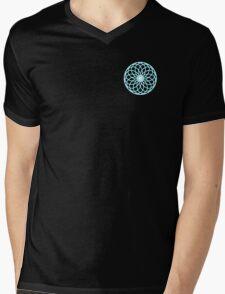 Geometric Flower Blue Ice Mens V-Neck T-Shirt
