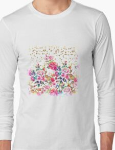 Modern watercolor spring floral and gold dots pattern Long Sleeve T-Shirt