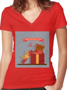 Happy Valentine's Day Greeting Cards. Air Baloon, Present with Love, Cupcake and Whale Women's Fitted V-Neck T-Shirt