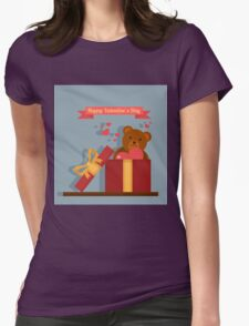 Happy Valentine's Day Greeting Cards. Air Baloon, Present with Love, Cupcake and Whale Womens Fitted T-Shirt