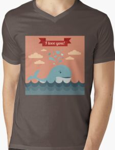 Happy Valentine's Day Greeting Cards. Air Baloon, Present with Love, Cupcake and Whale Mens V-Neck T-Shirt