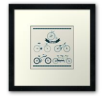 Set of Different Bicycles in Vintage Style.  Framed Print