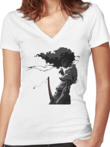 Afro Samurai Women's Fitted V-Neck T-Shirt