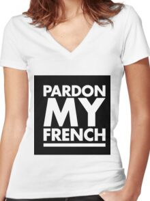 Pardon My French White Women's Fitted V-Neck T-Shirt