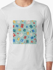 Books Seamless Pattern. Different Colorful Books. Vector illustration in flat style Long Sleeve T-Shirt