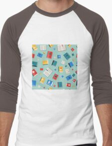 Books Seamless Pattern. Different Colorful Books. Vector illustration in flat style Men's Baseball ¾ T-Shirt