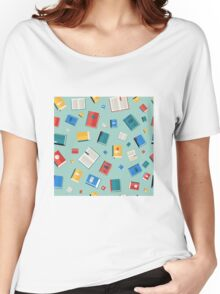 Books Seamless Pattern. Different Colorful Books. Vector illustration in flat style Women's Relaxed Fit T-Shirt