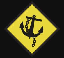 Navy Anchor warning sign yellow One Piece - Short Sleeve