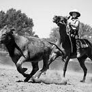 Young boy Rider - Demonstrating real skill at the Campdraft by Clare Colins