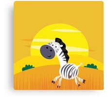Illustration of cute Zebra in Nature Canvas Print