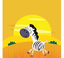 Illustration of cute Zebra in Nature Photographic Print