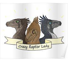 Crazy Raptor Lady Poster