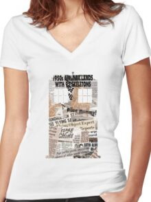Doctor Who - TARDIS newspaper articles Women's Fitted V-Neck T-Shirt