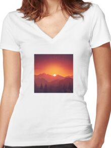 Sunrise on a Mountain Women's Fitted V-Neck T-Shirt
