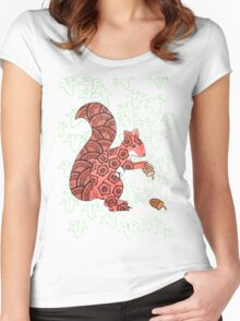Red squirrel ivy Women's Fitted Scoop T-Shirt