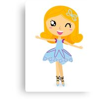 Cute dancing little ballerina girl. Vector cartoon Illustration Canvas Print