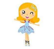 Cute dancing little ballerina girl. Vector cartoon Illustration Photographic Print