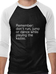 Kazoo Kid Warning - white text Men's Baseball ¾ T-Shirt