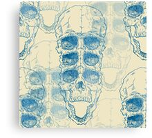 Terrible frightening seamless pattern with skull on antique grunge background Canvas Print