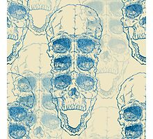 Terrible frightening seamless pattern with skull on antique grunge background Photographic Print