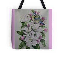 Apple blossom flower floral spring flowers and garden bird Tote Bag