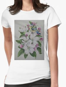 Apple blossom flower floral spring flowers and garden bird Womens Fitted T-Shirt