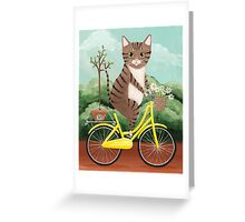 Earth Day Bicycle Ride Cat Greeting Card