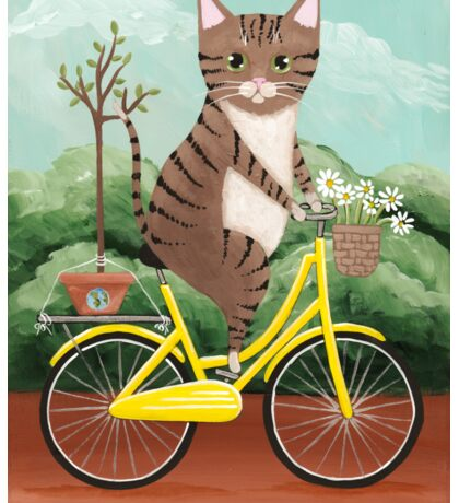Earth Day Bicycle Ride Cat Sticker