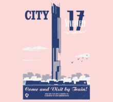 City 17 Travel Poster  One Piece - Short Sleeve