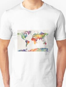 Watercolour world map Unisex T-Shirt