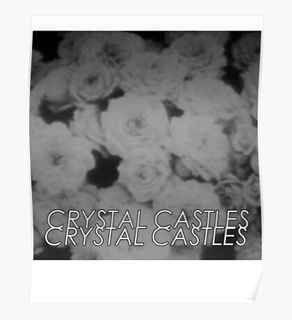 Crystal Castles Washed out flowers black and white Poster