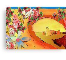 Desert Bridge Abstract with Flowers Orange Multi Canvas Print