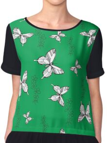 Pattern with butterflies and flowers Chiffon Top
