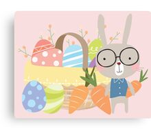Easter Bunny With Basket of Colored Eggs Canvas Print