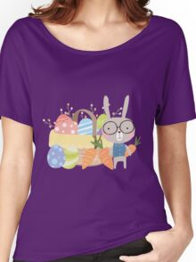 Easter Bunny With Basket of Colored Eggs Women's Relaxed Fit T-Shirt