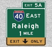 Raleigh, NC Road Sign, USA One Piece - Long Sleeve