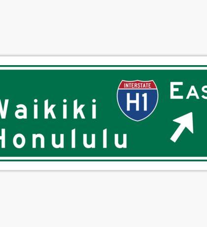 Waikiki-Honolulu, HI Road Sign, USA Sticker